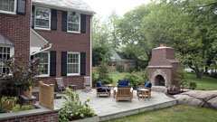 Outdoor fire place and patio in Mamaroneck, New York