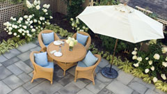 Patio furniture with slate patio and garden